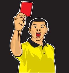 Sudija sa kartonom crvenim nervoza vector