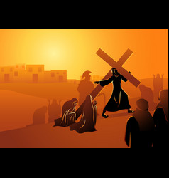 the women jerusalem mourn for jesus vector image