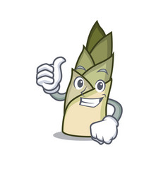 Thumbs up bamboo shoot character cartoon vector