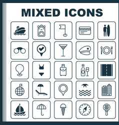 Tourism icons set collection of rucksack bathing vector