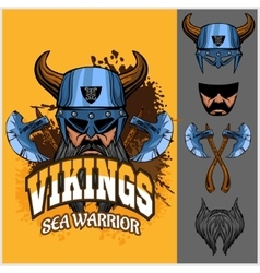 Viking warrior and isolated elements vector image