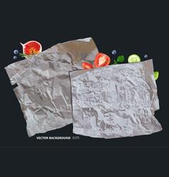 Vintage parchment paper with fruits vector