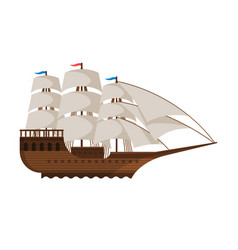 vintage sailing ship side view water transport vector image
