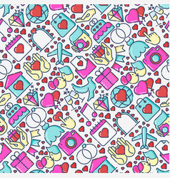 Wedding and love seamless pattern vector