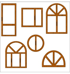 wooden windows vector image