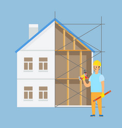 Worker standing construction male with tool vector
