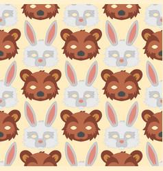 cartoon animal bear rabbit party masks vector image