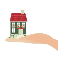 Hand holding house real estate investment concept vector image