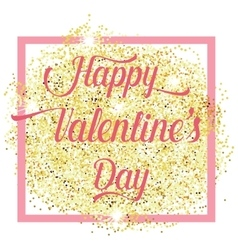 Happy valentines day lettering text with gold vector