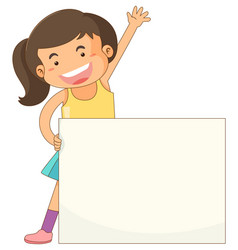 banner template with happy girl vector image
