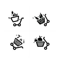 damage shopping cart icons vector image