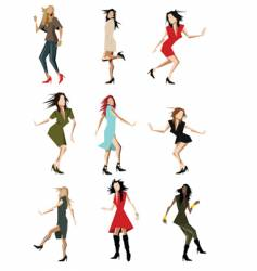 dancing party girls vector image