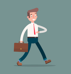 flat a man in hurry to wor vector image