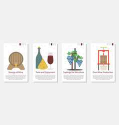 four banner for wine production vector image