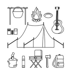 hand drawn backpacking icons set vector image