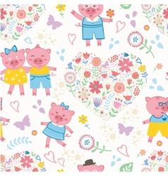 Seamless pattern with cute pigs vector image vector image