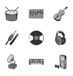 singing icons set gray monochrome style vector image vector image