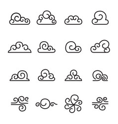 abstract cloud chinese cloud curl cloud icon set vector image vector image