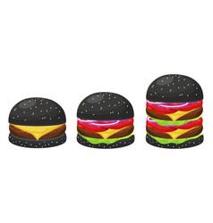 black hamburgers set vector image vector image