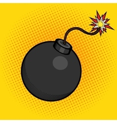 Cartoon bomb with fire pop art style vector image