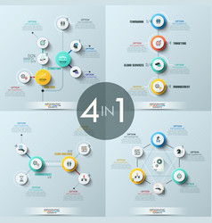 Collection of 4 modern infographic design vector
