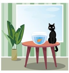 Naughty cat watching fish vector image