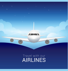 passenger airplane in the sky clouds safe flight vector image vector image