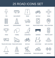 25 road icons vector