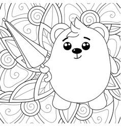 Adult coloring bookpage a kawaii bear vector