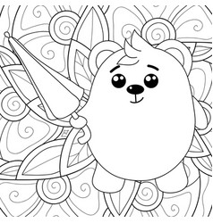 Adult coloring bookpage a kawaii bear with vector