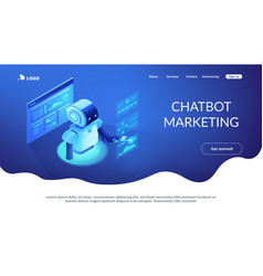 Automated data analysis isometric 3d landing page vector