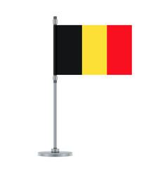 Belgian flag on the metallic pole vector