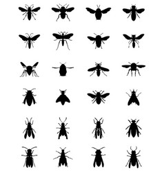 Black silhouettes bees and wasps vector