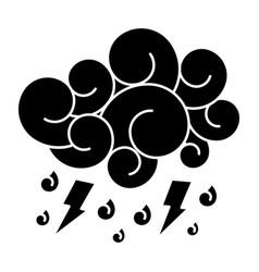 blue cloud lightning raindrops cartoon image vector image