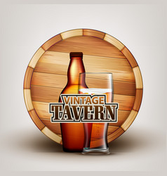 bottle and glass of beer with wooden barrel vector image