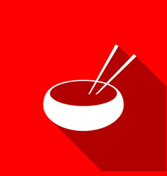 bowl with asian food and pair of chopsticks icon vector image vector image