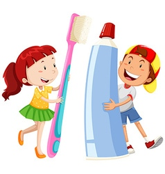 Boy and girl with giant toothbrush and paste vector