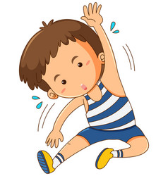 Boy exercising alone on white background vector