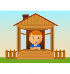 Boy in the wooden house vector