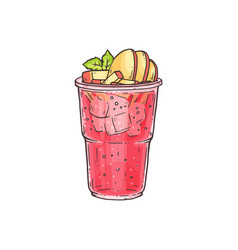 Bubble tea or summer ice cocktail in glass sketch vector