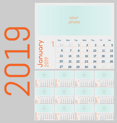 calendar 2019 colorful set week starts on sunday vector image