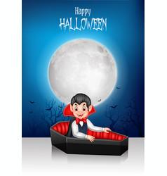 cartoon happy vampire in his coffin with halloween vector image