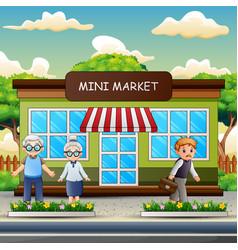 Cartoon people in front mini market vector
