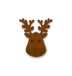 Cartoon wooden deer head with horns isolated vector
