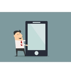 Cartooned businessman presenting big smartphone vector image