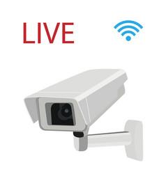 Cctv security surveillance camera and wi-fi symbol vector