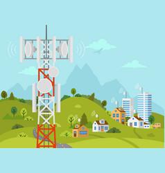 Cellular transmission tower in front landscape vector