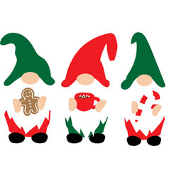 christmas gnomes in red green hats with christmas vector image