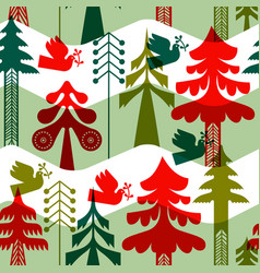 Christmas vintage folk pine tree seamless pattern vector