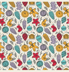 colorful cute christmas elements seamless pattern vector image